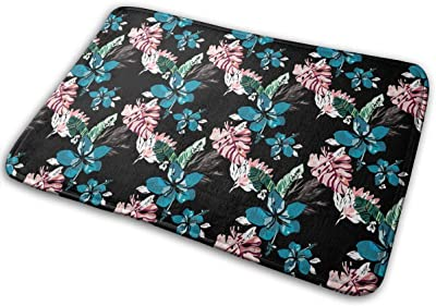 Hawaiian Style Colorful Palm Leaves and Beautiful Flowers Carpet Non-Slip Welcome Front Doormat Entryway Carpet Washable Outdoor Indoor Mat Room Rug 15.7 X 23.6 inch