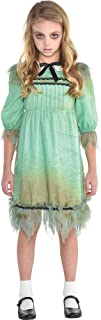 Creepy Girl Costume for Girls, Tattered Dress Features Dirt Smears and a Peter Pan Collar