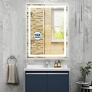 M LTMIRROR LED حمام غرور آینه: آینه آرایش با چراغ 10X ذره بین 24X32 اینچ دکمه لمسی هوشمند ضد مه