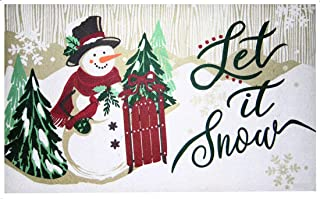 Christmas Holiday Snowman Let It Snow Doormat Kitchen Mat Nonskid Neoprene Backing Polyester Front 18 x 30 inches Indoor /...