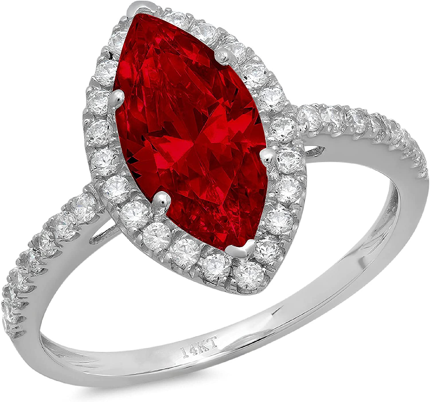 2.32ct Popular brand Brilliant Marquise Cut Solitaire Natural with Halo Accent OFFicial site