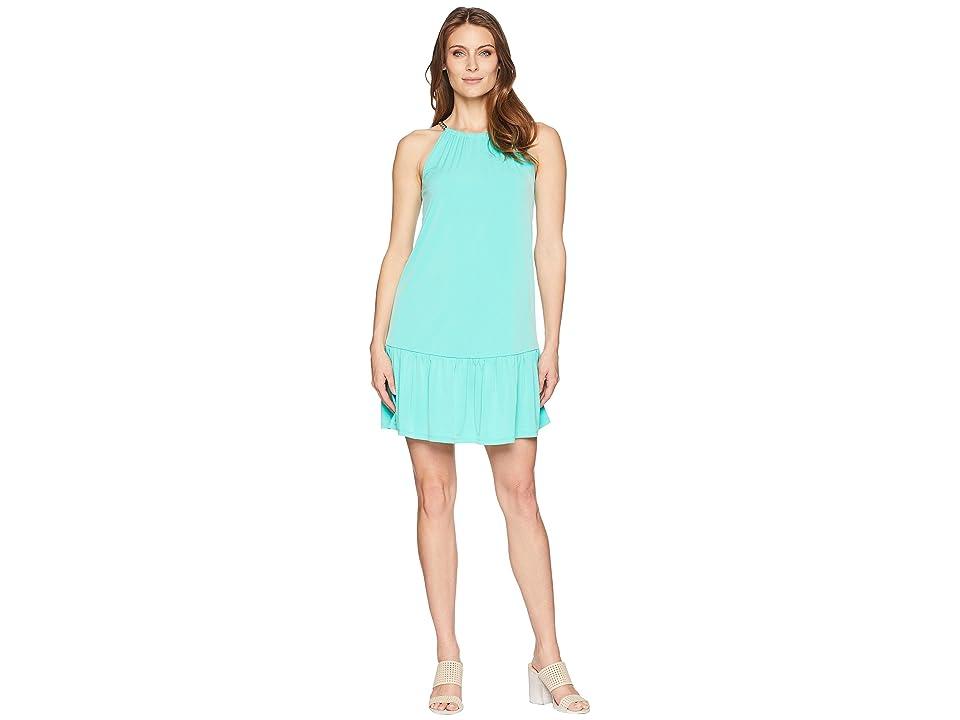 MICHAEL Michael Kors Solid Chain Halter Dress (Aqua) Women