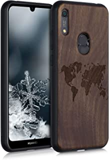kwmobile Wooden Case Compatible with Huawei Y6s (2019) - TPU Bumper - Travel Outline Dark Brown