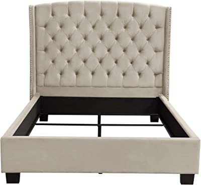 Diamond Furniture MAJESTICEKBEDTN Majestic Eastern King Tufted Bed in Tan Velvet with Nail Head Wing Accents