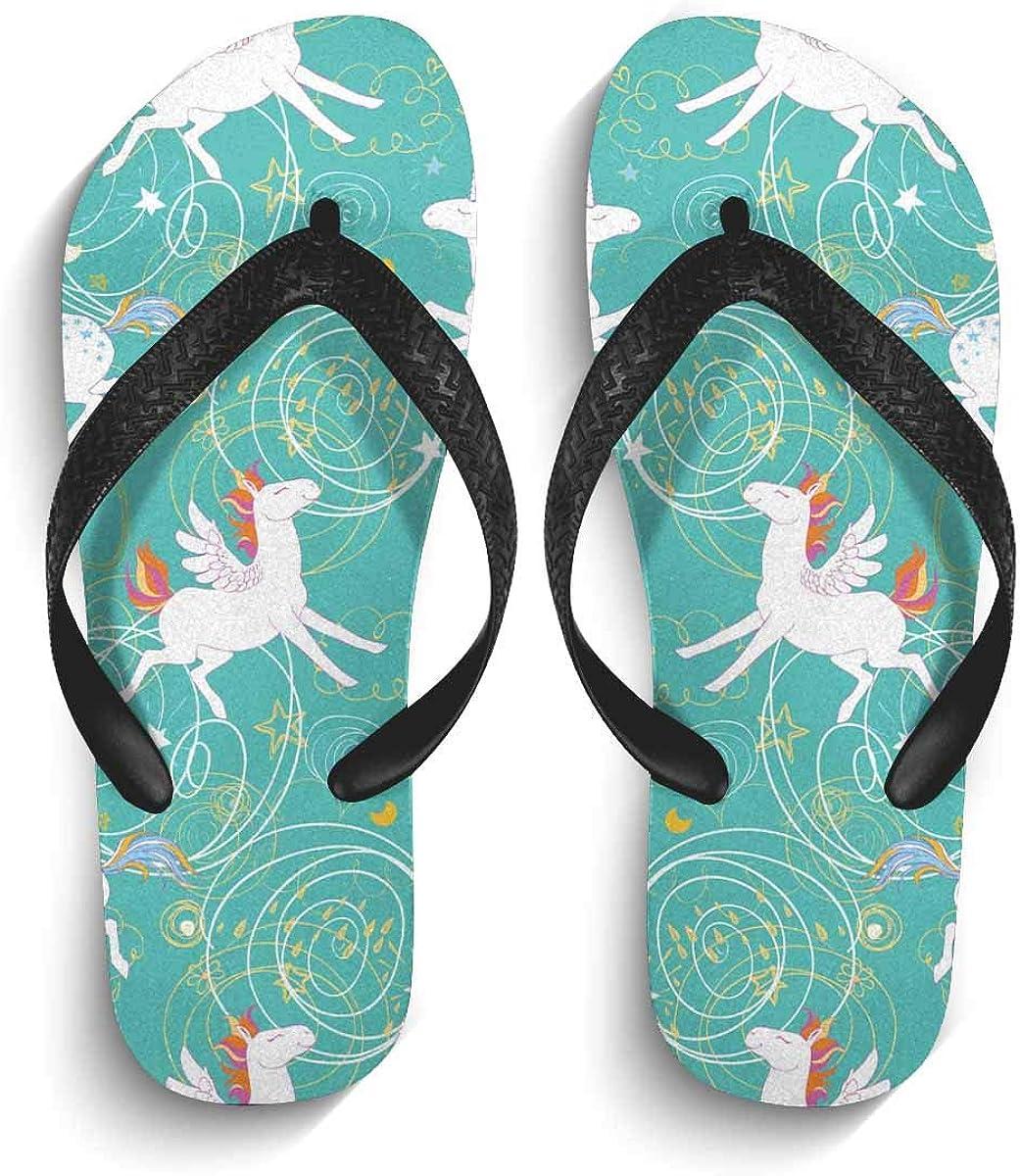INTERESTPRINT Non-Slip Flip Flops Black Straps Cute Fat Unicorn Farting Rainbow Summer Beach Thong Sandal for Men