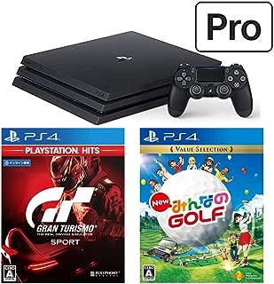 PlayStation 4 Pro + グランツーリスモSPORT + New みんなのGOLF セット (ジェット・ブラック) (CUH-7200BB01)【特典】オリジナルカスタムテーマ(配信)