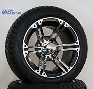 "12"" TERMINATOR Machined/Black Golf Cart Wheels and 215/40-12 DOT Golf Cart Tires - Set of 4"