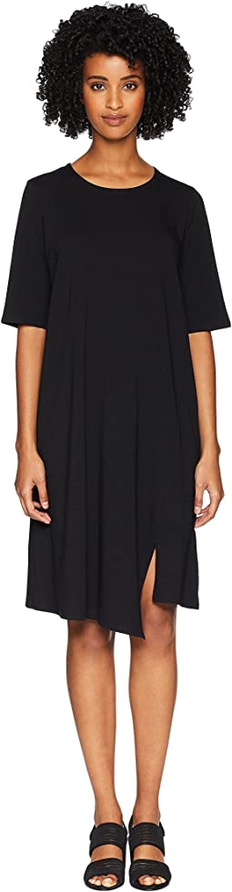 Organic Cotton Stretch Jersey Round Neck Dress with Elbow Sleeve