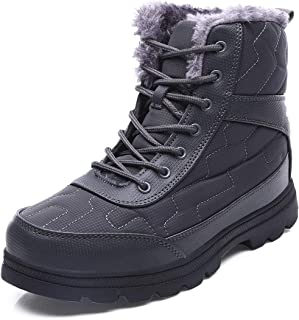 EXEBLUE Winter Snow Boots Water-Resistant Mid Calf Booties for Men Women Outdoor Lightweight Ankle Boots with Full Fur