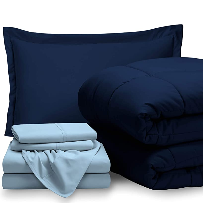 Bare Home Bed-in-A-Bag 5 Piece Comforter & Sheet Set - Twin - Goose Down Alternative - Ultra-Soft 1800 Premium - Hypoallergenic - Bare Breathable Bedding (Twin, Dark Blue/Light Blue)