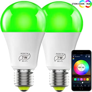 MagicLight Smart WiFi Alexa Light Bulb (No Hub Required), A19 7w (60w Equivalent) Dimmable RGBCW Color Changing LED Smart Lights, Compatible with Alexa Google Home Siri IFTTT (2 Pack)