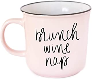 Brunch Wine Nap Coffee Mug Pink 14oz Stoneware Novelty Funny Coffee Mugs I Just Want To Nap Save Animals Cups Wine Lover Present Unique Quotes Graduation Gifts College School Grad Gift