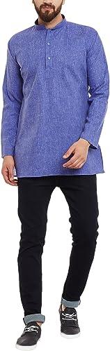 Royal Sojanya Hommes's Cotton Linen courte Kurtas grand Indigo bleu