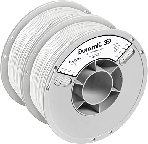 DURAMIC 3D Premium PLA Plus Filament 1.75mm 2 Pack White, 3D Printing Filament No-tangling No-Clogging Dimensional Ac...