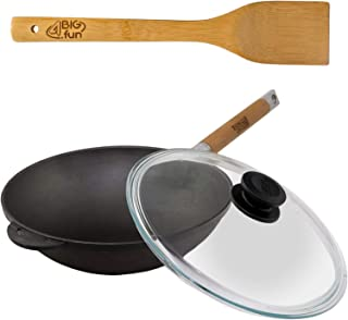 4big.fun Poêle wok en fonte avec manche en bois amovible, couvercle en verre et spatule en bambou Hauteur 142 mm 3 l