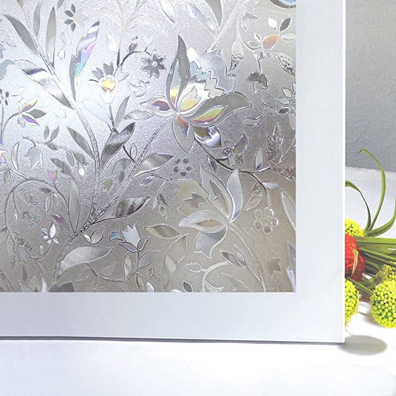 Bloss No Glue Static Cling Window Film Decorative Pattern Design Glass Window Film Privacy Window Covers For Home Bedroom Bathroom Window Decor 35 4 X 78 7