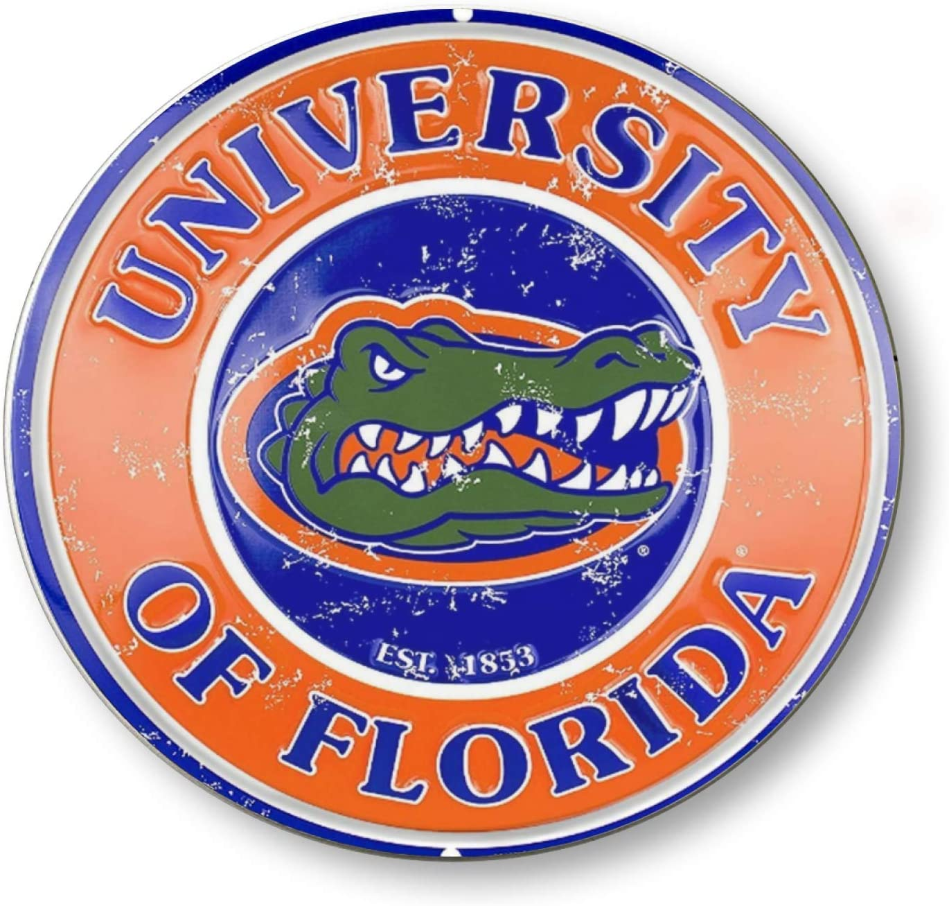 Florida Gators Vintage Style Concave Round Tin Sign, Retro Metal Round Tin Signs Decor Wall Art Posters Gifts for Door Plaque Home Bars Clubs Cafes, 12X12 Inches