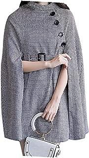 Women Gray Stand Collar Asymmetric Zipper Front Cape Coat
