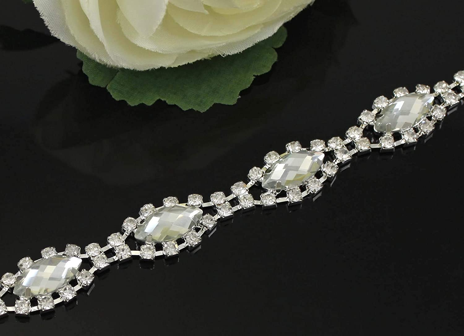 Xuccus 5Yards 888 Glass Rhinestone Limited Max 40% OFF time for free shipping Silver We Chain Trimming Trim