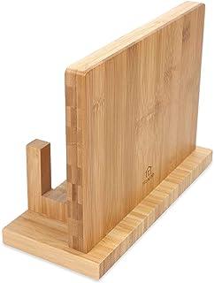 TRAPP Bloc à couteaux magnétique avec support pour planche à découper, bambou, aimants extra puissants, avec picots, grand...