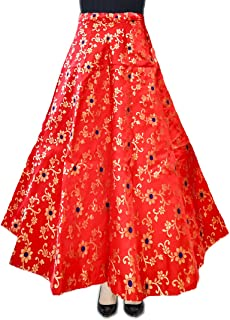 DB ENBLOC Women's Now Umbrella Cut Skirt for Party/Festival Function Red
