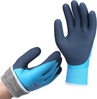 DS Safety Men's Waterproof Thermal Winter Work Gloves Double Coated Nylon Reinforced Insulated Gloves with Acrylic Terry B...
