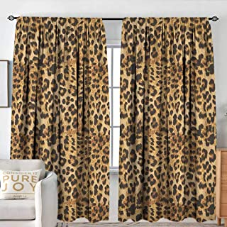 NUOMANAN Blackout Curtains for Bedroom Brown,Leopard Print Animal Skin Digital Printed Wild African Safari Themed Spotted Pattern Art, Brown,Darkening and Thermal Insulating Draperies 54
