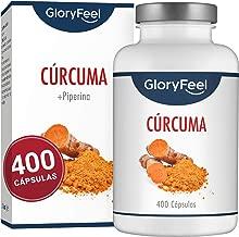 GloryFeel® Cúrcuma Intensiva - 400 cápsulas veganas para más de 1 año - 700 mg de Curcuma y 2,1 mg de Pimienta Negra por cápsula - Antioxidante y antiinflamatorio natural - Sin aditivos