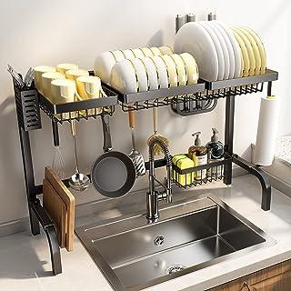 Egouttoir A Vaisselle, Cuisine Accessoires Reglable, Egouttoir Vaisselle INOX, Egouttoir Vaisselle Noir, Rangement Cuisine...