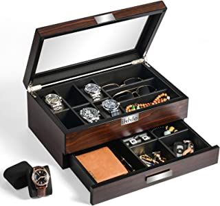 ikkle Watch Box Organizer Wooden Men Jewelry Display Case Holder with Drawer for Men Accessory Storage, Real Glass Top