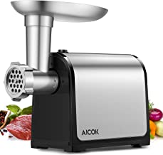 AICOK Electric Meat Grinder, 3-IN-1 Meat Mincer & Sausage Stuffer, 【2000W Max】Food Grinder with Sausage & Kubbe Kits, 2 Grinding Plates, Stainless Steel, Home Kitchen & Commercial Use, FDA certified