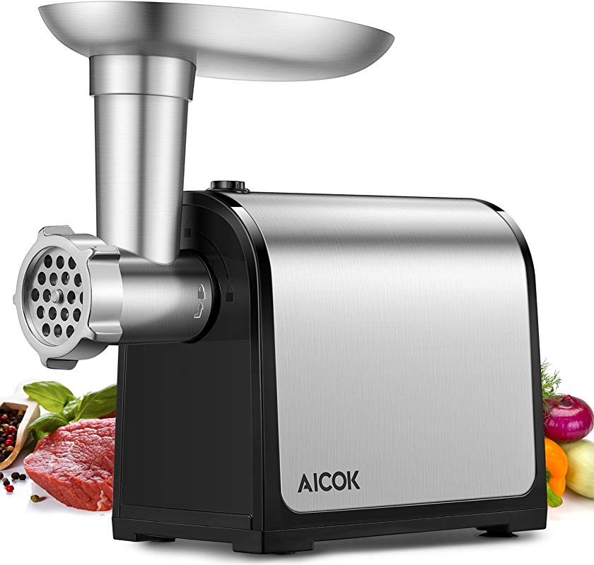 AICOK Electric Meat Grinder 3 IN 1 Meat Mincer Sausage Stuffer 2000W Max Food Grinder With Sausage Kubbe Kits 2 Grinding Plates Stainless Steel Home Kitchen Commercial Use FDA Certified