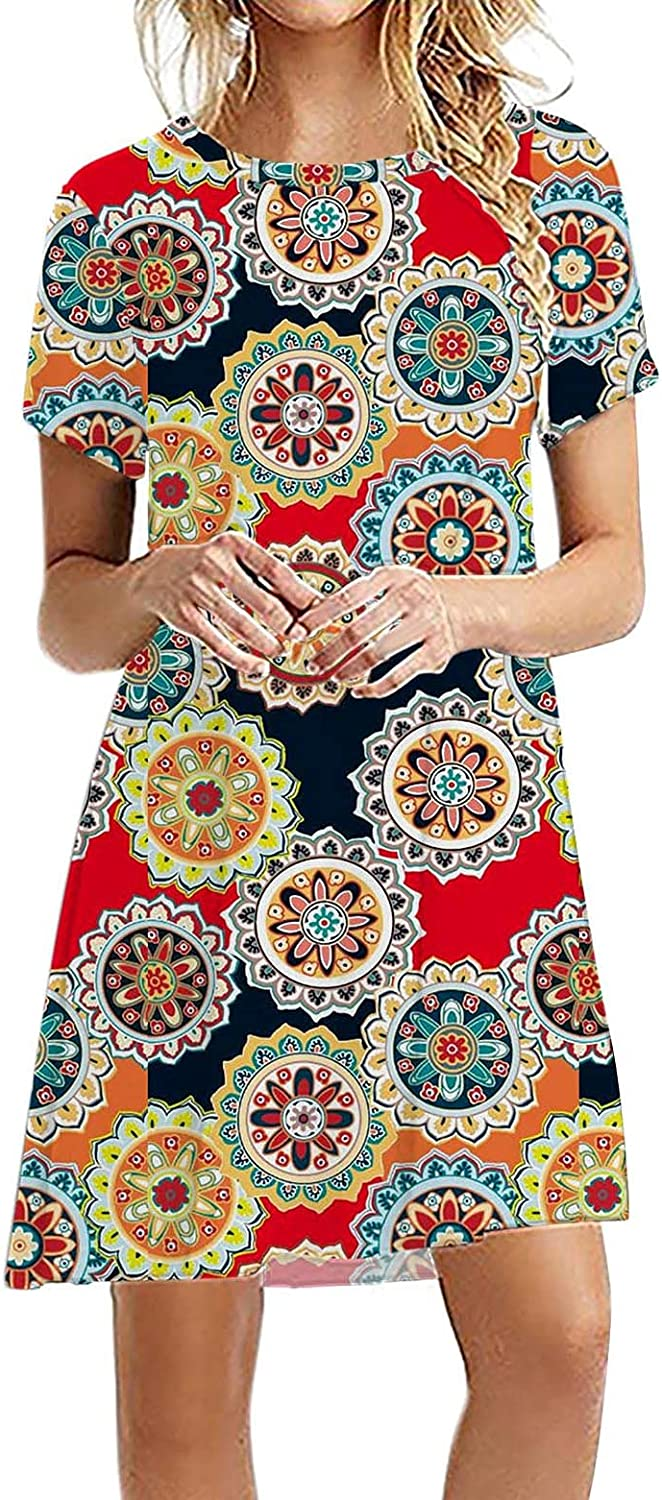Dresses for Women Casual, Fashion Women Casual Printed Short Sleeve Solid Ladies O Neck Loose Mini Dress