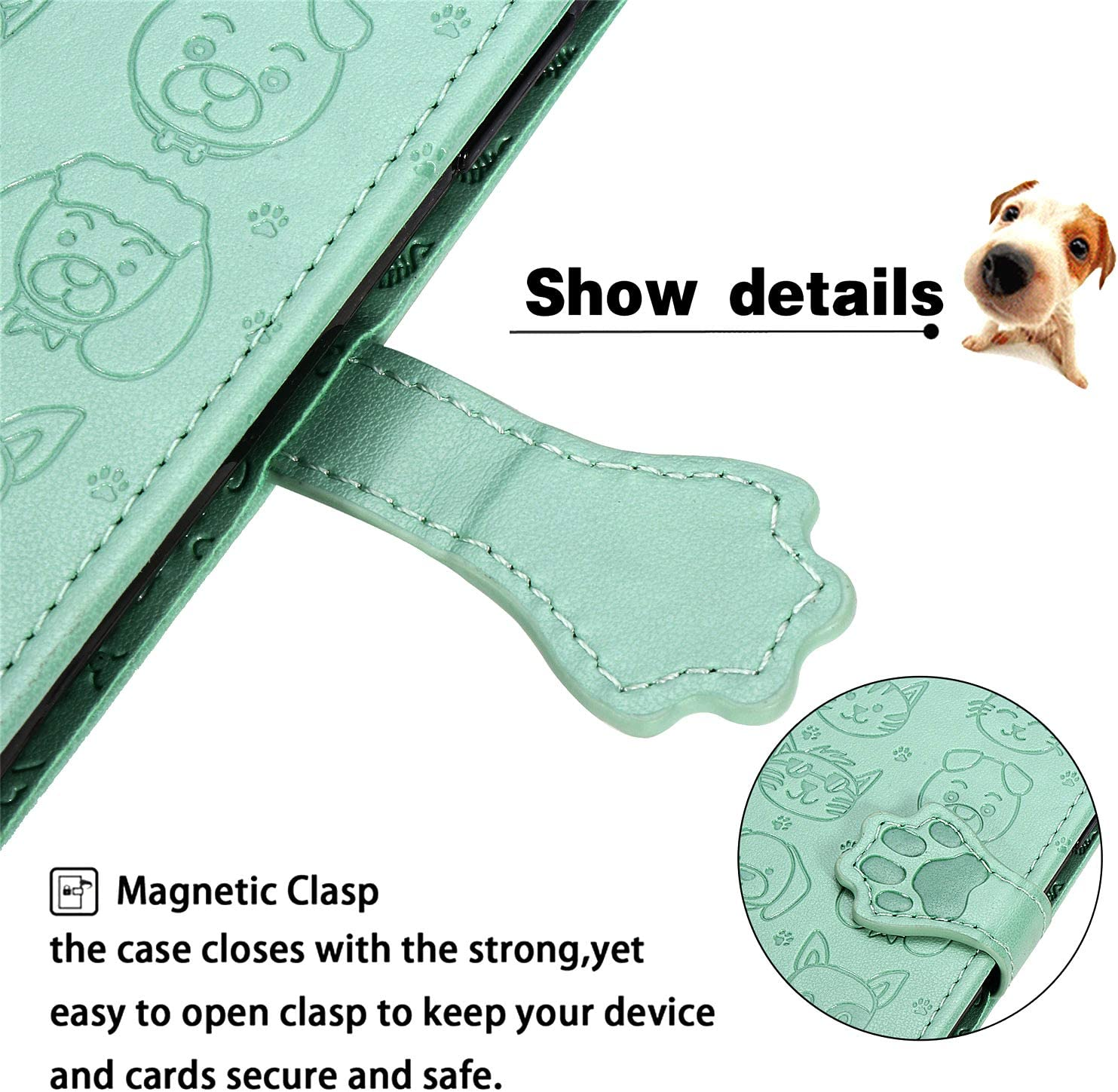 Cute Cat /& Dog Embossed Flip PU Leather Wallet Protective Cover Folio Soft TPU Bumper with Card Holder Magnetic Stand Shockproof Phone Case for Samsung S20 FE Samsung Galaxy S20 FE Case Grey