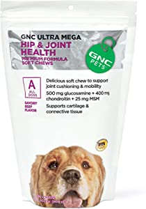 GNC Pets Ultra Mega Hip & Joint Health Dog Supplements - Support for Joint Cushioning & Mobility Pets Ultra Mega Hip Joint Health - Dog Joint Care, Dog Hip and Joint Supplement, Dog Vitamins
