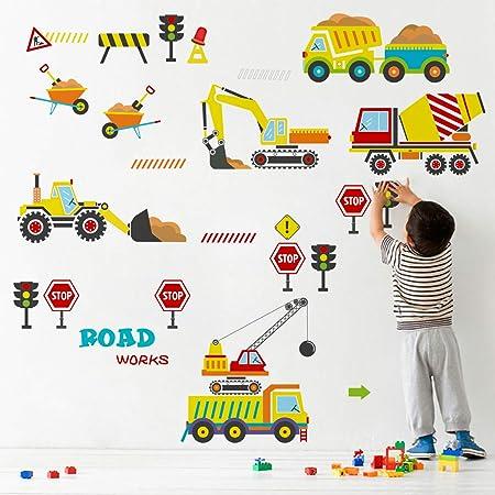 decalmile Stickers Muraux Chantier de Construction Véhicule Autocollant Décoratifs Chambre Bébé Garçon Décoration Murale Chambre Enfants Garderie Salle de Jeux