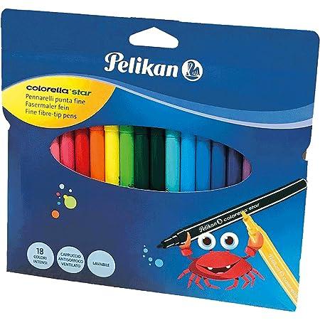 Pelikan, Pennarelli, Colorella Star, 18 Colori, Punta Fine, Lavabili, per Bambini, Cappuccio Antisoffoco, Prodotto in Germania