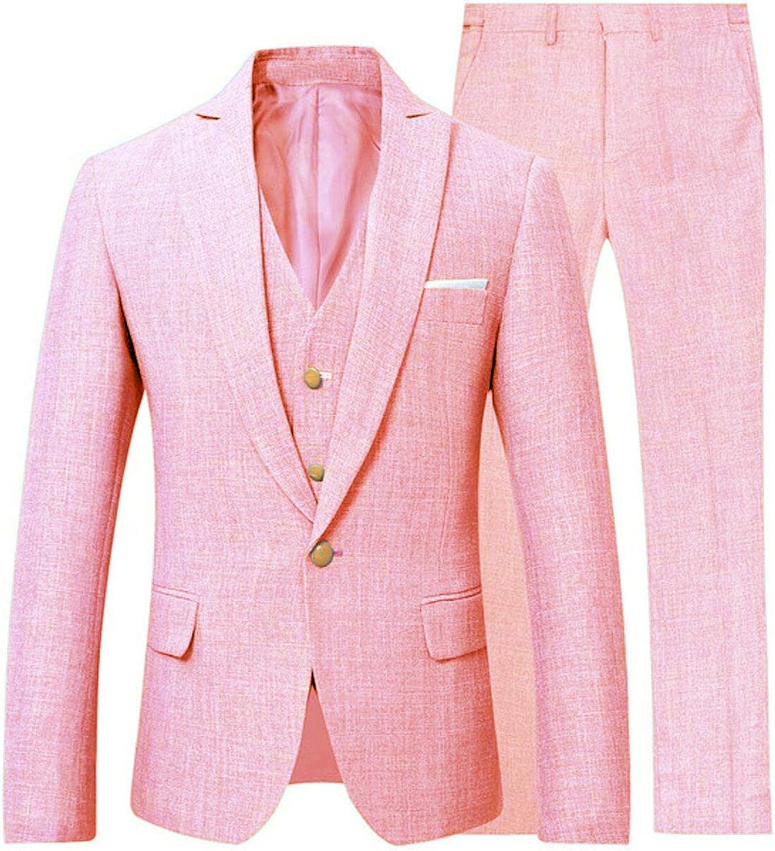 Frank Men's 3 Piece Linen Suit Set Blazer Jacket Tux Vest Suit Pants