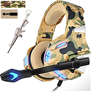 Camo Pro Stereo Gaming Headset for PS4 Xbox One PC, All-Cover Over Ear Headphones Deep Bass Surround Sound with360° Noise ...