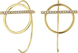 Bar and Line Threader Hoop Earrings