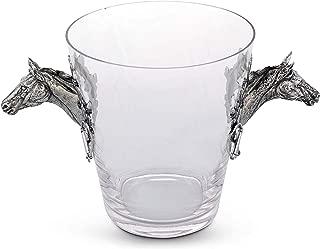 Vagabond House Handblown Glass Ice/Wine/Bucket with Solid Handcraft Pewter Horse Head Equestrian Bit Handles, 11