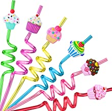24 Reusable Cupcake Straws Party Favors for Theme Birthday Party Supplies with 2 Cleaning Brush