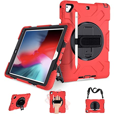 Amazon Com Ipad 6th 5th Generation Case Ipad 9 7 Inch 2018 2017 Case Full Body Shock Proof Protective Case With 360 Rotating Stand Strap For Apple Ipad 5th 6th Air 2 Pro 9 7 Red Computers