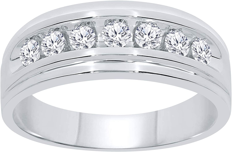 10k White Gold .52 Carat Real Men Diamond Ring Engagement Ring Wedding Ring Bridal Pinky Ring Band (.52 cttw, H-I Color, SI2-I1)