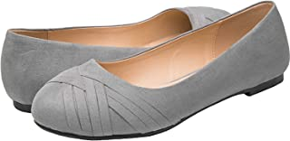 Luoika Women's Wide Width Flat Shoes - Elastic Band Comfortable Pointed Toe Ballet Flats.