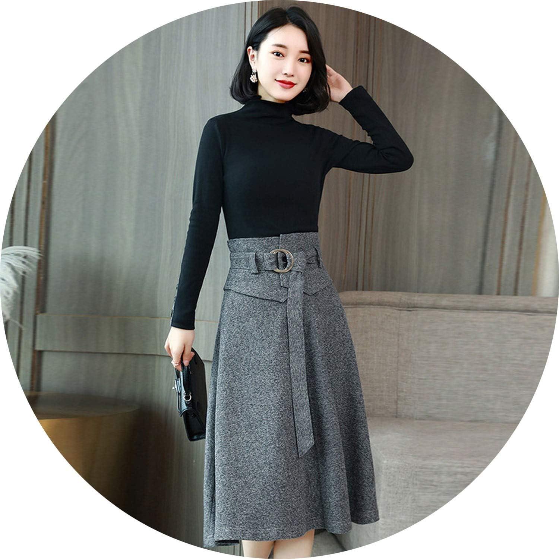 Elegant Midi Woolen Skirt Women 2018 Autumn Winter High Waist Belted Female Long Office Work Skirts