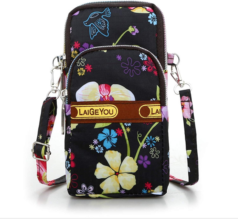 Fashion Sports Shoulder Bag Mini Wrist Purse Armband Bag Universal Phone Holder Pouch Case for iPhone/Samsung/ LG/Moto/Black Berry/Sony/HTC/Nexus/Nokia/Lumia/Huawei and So on. (Black Flower)