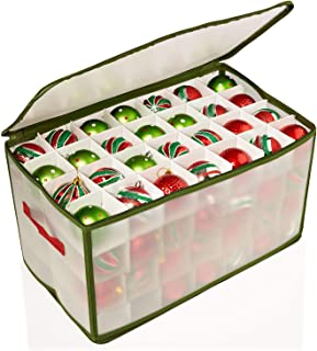 Home Basics Easy Storage 112 Compartment Zippered Christmas Ornament Box Tote Chest, with Handles, Holds 112 Ornaments That are up to3 inch in Diameter