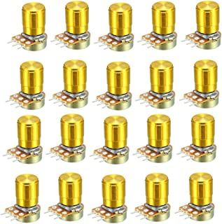 uxcell WH148 20K Ohm Variable Resistors Single Turn Rotary Carbon Film Taper Potentiometer W Knobs 20pcs