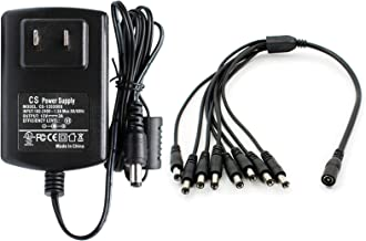ANVISION AC to DC 12V 3A Power Supply with 1 to 8 Way Splitter Cable, Plug 5.5mm x 2.1mm, for NVR DVR CCTV Camera, TV Box, Efficiency Level VI, UL Listed